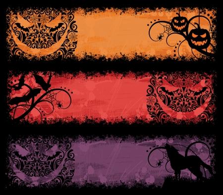 back lit: Conjunto de un banners de halloween grunge.