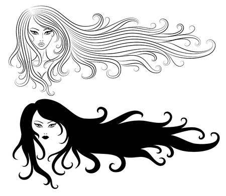 Set of a girls with a long hair. Vector Illustration