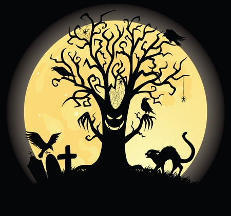 halloween cat: Silhouette of a scary tee. Full moon on the background. Illustration