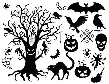 cuervo: Colección de siluetas para el halloween.