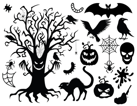 Collection of silhouettes for the halloween . Çizim