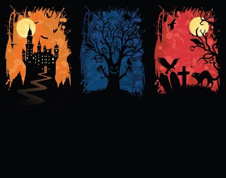 Set of a grunge halloween banners. Vector