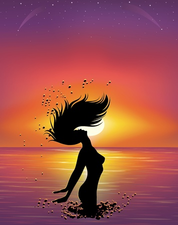 long jump: Silhouette of a woman in the sea at sunset.
