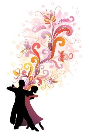 pareja bailando: Pareja bailando tango. Vectores