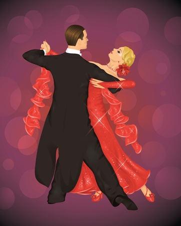 tux: Couple is tango dancing on the purple background. Illustration