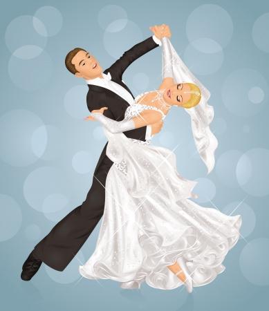 Couple is tango dancing on the purple background. Vector