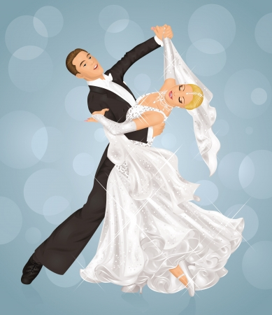 bride and groom background: Couple is tango dancing on the purple background. Illustration