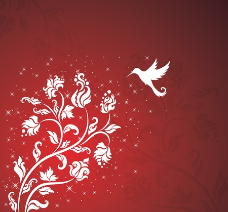 Floral pattern with a bird on the red background. Vector