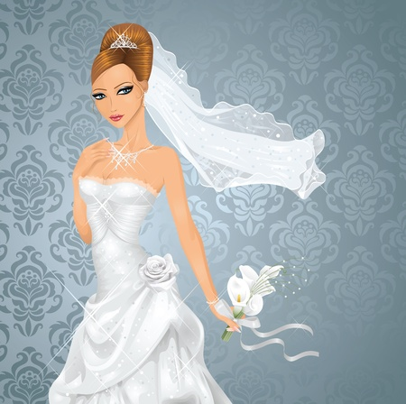 Beautiful bride with a bouquet on blue background. Vector