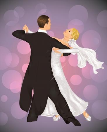 összpontosított: Házaspár a tangót táncol a lila háttér.