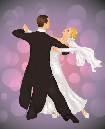 Married couple is tango dancing on the purple background.
