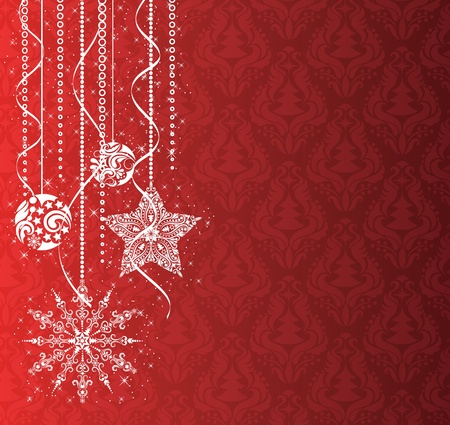 pinetree: Adornos navide�os en el papel tapiz rojo.