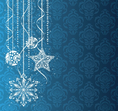 Christmas decorations on the blue wallpaper. Stock Vector - 11102181