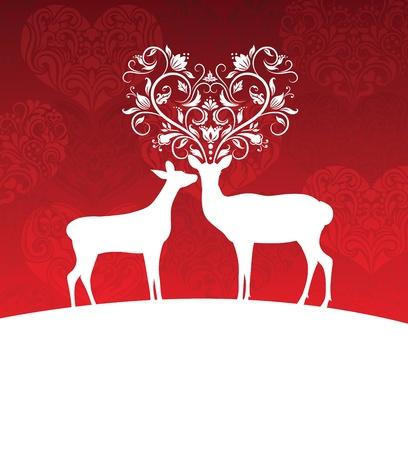 оленьи рога: Два оленя, стоящего на холме. Надо рогами в форме сердца.