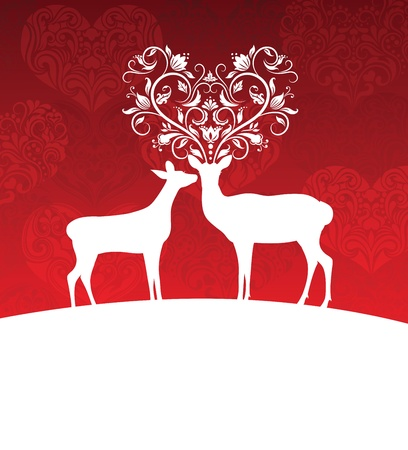 Two deer standing on a hill. One has horns in a shape of a heart. Vector