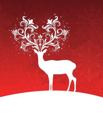 renos navide�os: Venado con cuernos dibujos de pie sobre una colina. Vectores