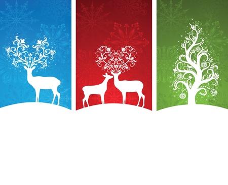 renos de navidad: Un conjunto de banners de Navidad. Vectores