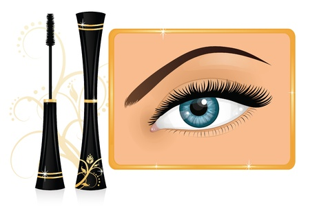 Mascara and a female eye with an ornament on the background. Vector
