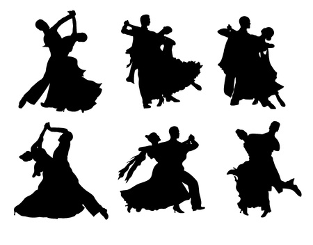 Set of  silhouettes of a dancing couple. Vector