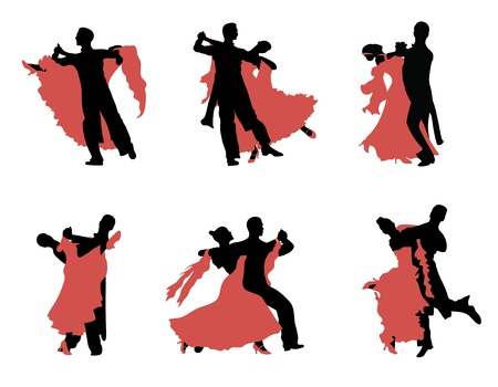 ballroom dancing: Set of  silhouettes of a dancing couple.