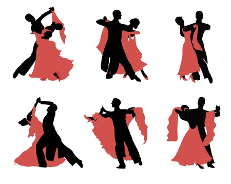 couple embrace: Set of  silhouettes of a dancing couple.