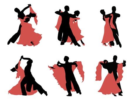 Set von Silhouetten eines tanzenden Paares.