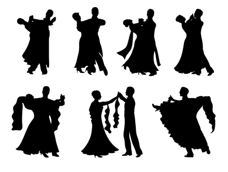 Set of  silhouettes of a dancing couple. Stock Vector - 12458138