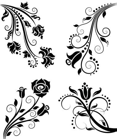 floral scroll: Floral pattern.