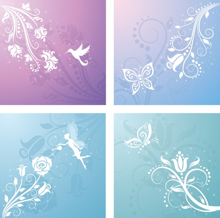 fairy silhouette: Floral pattern.