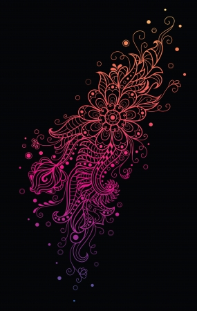 curled up: Colorful pattern on the black background  Illustration