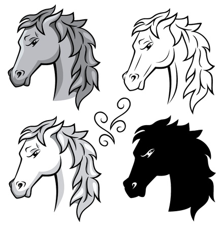 Set of horses  Stock Vector - 14233565