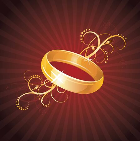 wedding reception: Gold ring on the red background   Illustration