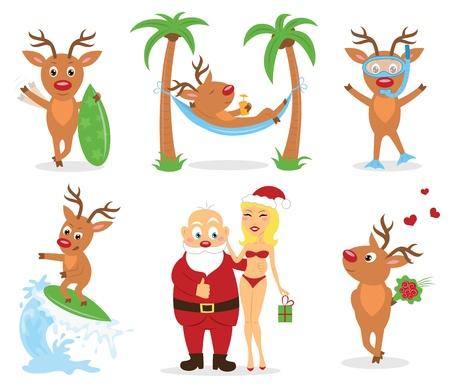renos de navidad: Vacaciones de Navidad en la playa.