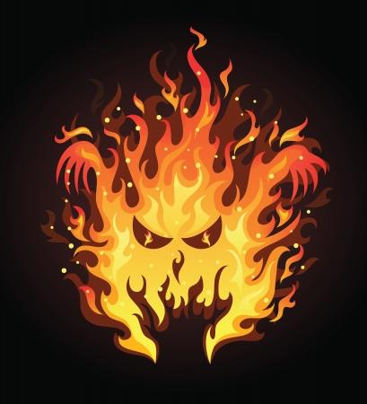 infierno: Cara enojada en un incendio en el fondo oscuro.