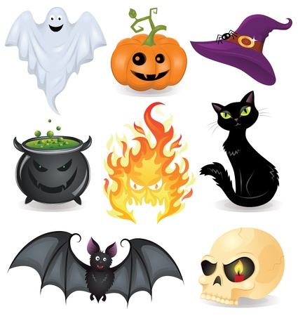 ghost face: Set of halloween icons. Illustration