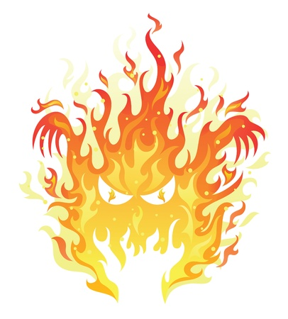 Angry face in a fire on the white background. Vector