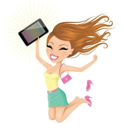 persona saltando: Mujer feliz con su pantalla t�ctil.