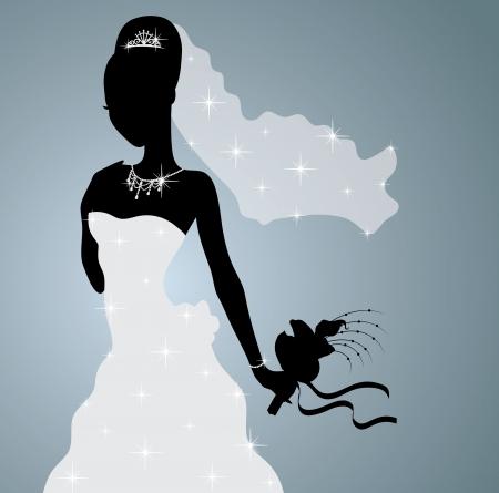 traje de gala: Silueta de una novia hermosa que se coloca y que sostiene un ramo de flores.