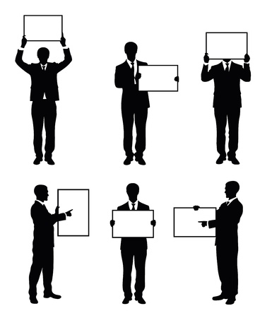 Set of silhouettes of a businessman holding a board. Vector