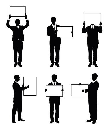 Set von Silhouetten von einem Geschäftsmann hält ein Brett. Standard-Bild - 15399406