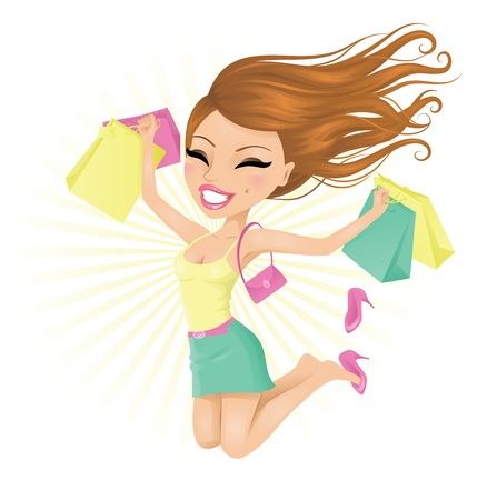 family shopping: Woman happy with her shopping bags. Illustration