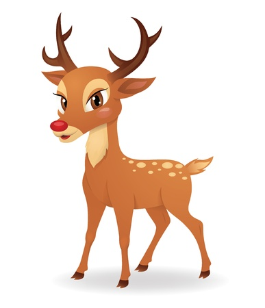 Cute deer standing isolated on white. Illustration