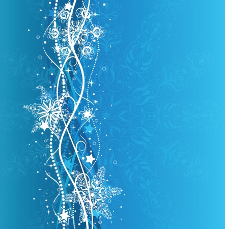 Christmas background in blue colors with snowflakes and stars.