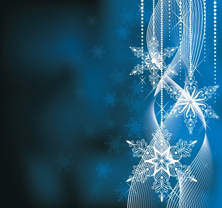 Christmas backround in blue colors with snowflakes