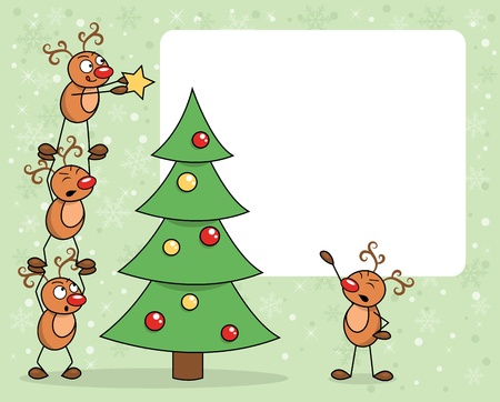 Deers decorating a christmas tree. Vector