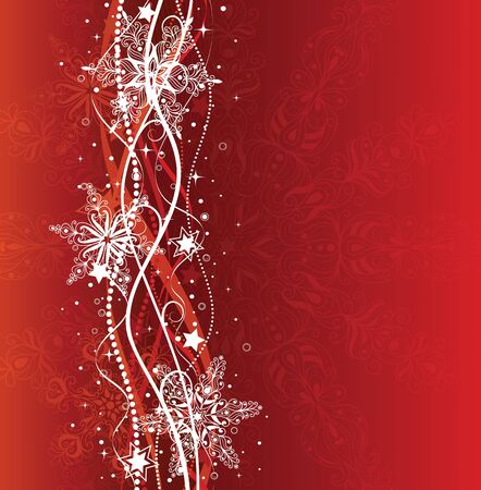 Christmas background in red colors with snowflakes. Illustration