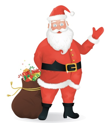 Santa Claus standing with a bag of presents and waving  Vector