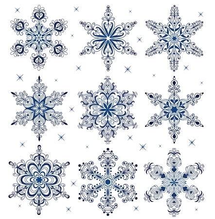 Set of a pattern in a shape of a snowflake. Vector