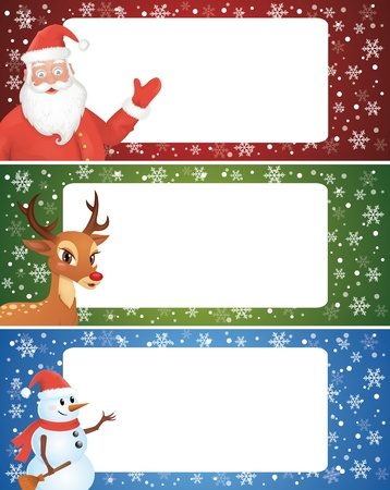 celebration smiley: Set of christmas banner with a santa, a deer and a snowman