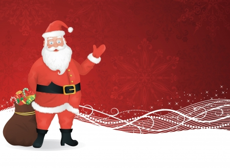 Santa Claus standing with a bag of presents and waving on a red background. Vector